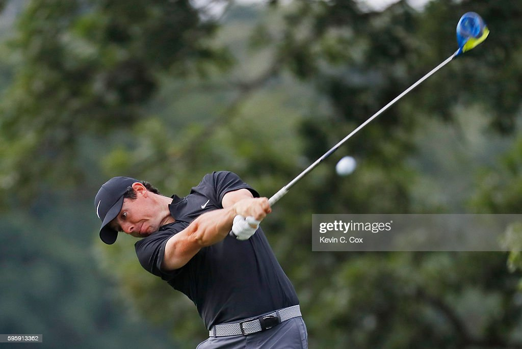 Rory McIlroy of Northern Ireland hits his tee shot on the fifth hole during the second round of The Barclays in the PGA Tour FedExCup Play-Offs on the Black Course at Bethpage State Park on August 26, 2016 in Farmingdale, New York.