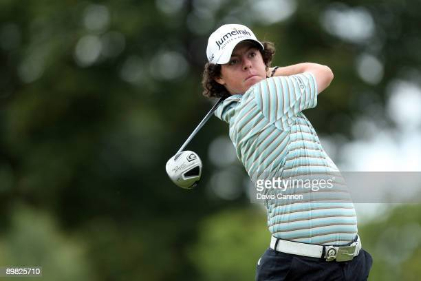 Rory McIlroy of Northern Ireland hits his tee shot on the first hole during the final round of the 91st PGA Championship at Hazeltine National Golf...