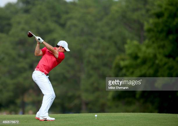 Rory McIlroy of Northern Ireland hits his tee shot on the fourth hole during the second round of the 114th US Open at Pinehurst Resort Country Club...
