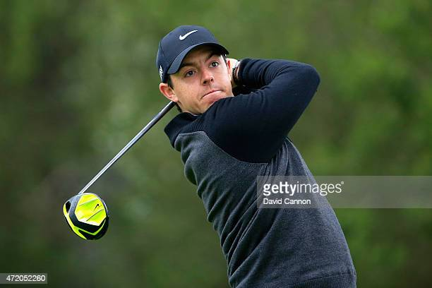 Rory McIlroy of Northern Ireland hits his tee shot on the fourth hole during his semi final match in the World Golf Championships Cadillac Match Play...