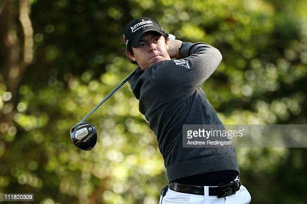 Rory McIlroy of Northern Ireland hits his tee shot on the second hole during the first round of the 2011 Masters Tournament at Augusta National Golf...