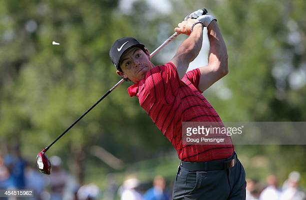 Rory McIlroy of Northern Ireland hits his tee shot on the second hole during a practice round ahead of the BMW Championship at the Cherry Hills...