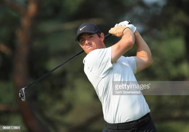 Rory McIlroy of Northern Ireland hits his tee shot on the second hole during the final round of The Memorial Tournament Presented by Nationwide at...