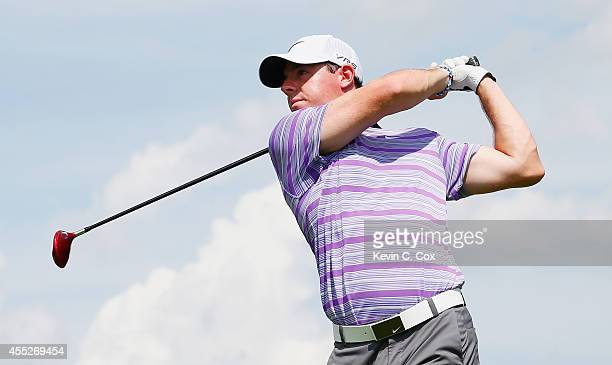 Rory McIlroy of Northern Ireland hits his tee shot on the seventh hole during the first round of the TOUR Championship by Coca-Cola at the East Lake...