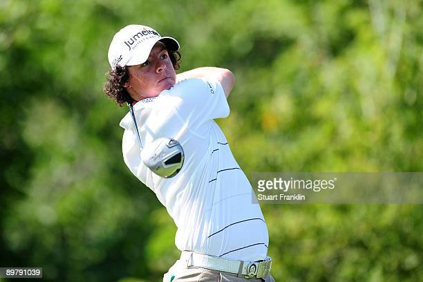Rory McIlroy of Northern Ireland hits his tee shot on the tenth hole during the second round of the 91st PGA Championship at Hazeltine National Golf...