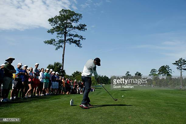Rory McIlroy of Northern Ireland hits his tee shot on the third hole during round two of the Shell Houston Open at the Golf Club of Houston on April...