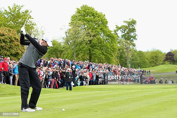 Rory McIlroy of Northern Ireland hits his teeshot on the 12th hole during the final round of the Dubai Duty Free Irish Open Hosted by the Rory...