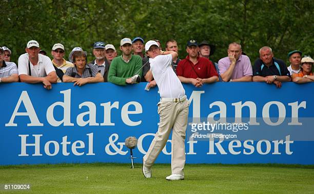 Rory McIlroy of Northern Ireland hits his teeshot on the 12th hole during the second round of the Irish Open on May 16 2008 at the Adare Manor Hotel...