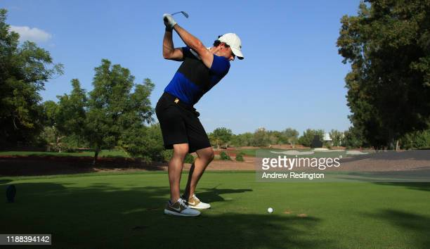 Rory McIlroy of Northern Ireland hits his tee-shot on the 13th hole during practice for the DP World Tour Championship Dubai at Jumeirah Golf Estates...