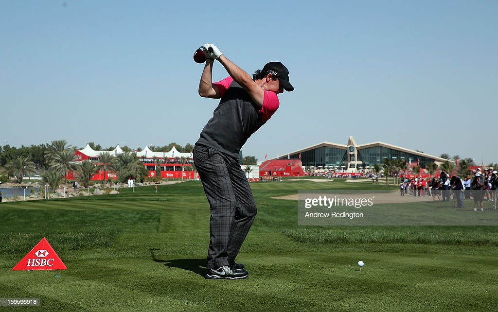Rory McIlroy of Northern Ireland hits his tee-shot on the ninth hole during the first round of The Abu Dhabi HSBC Golf Championship at Abu Dhabi Golf Club on January 17, 2013 in Abu Dhabi, United Arab Emirates.