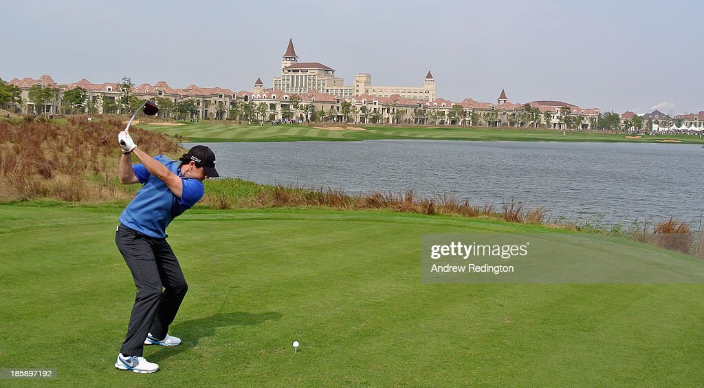 Rory McIlroy of Northern Ireland hits his tee-shot on the ninth hole during the third round of the BMW Masters at Lake Malaren Golf Club on October 26, 2013 in Shanghai, China.