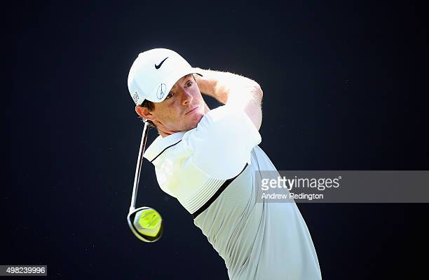 Rory McIlroy of Northern Ireland hits his teeshot on the third hole during the final round of the DP World Tour Championship on the Earth Course at...