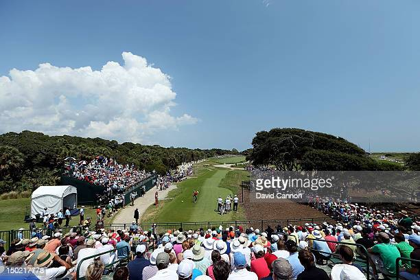 Rory McIlroy of Northern Ireland hits off the first tee during the Final Round of the 94th PGA Championship at the Ocean Course on August 12, 2012 in...