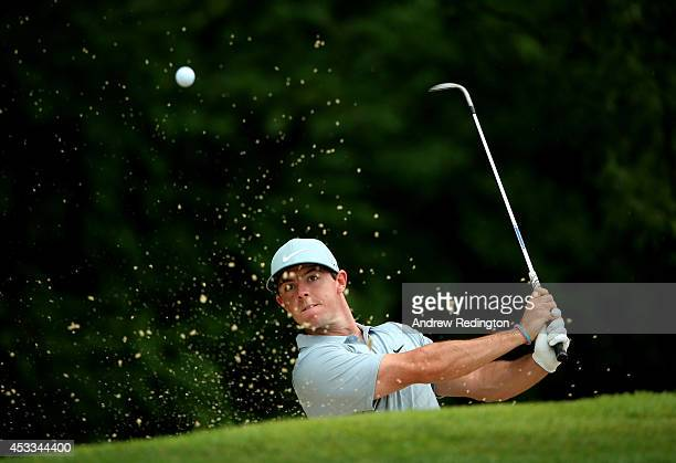 Rory McIlroy of Northern Ireland hits out of the bunker on the third hole during the second round of the 96th PGA Championship at Valhalla Golf Club...