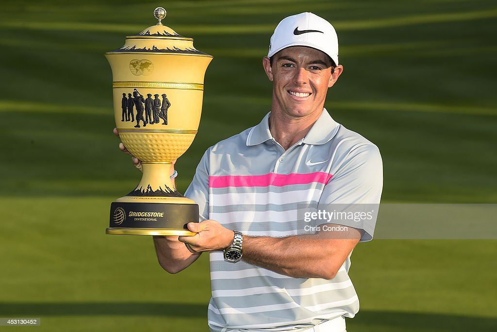 Rory McIlroy of Northern Ireland holds the Gary Player Cup after his two stroke victory against Sergio Garcia of Spain in the final round of the World Golf Championships-Bridgestone Invitational at Firestone Country Club on August 3, 2014 in Akron, Ohio.