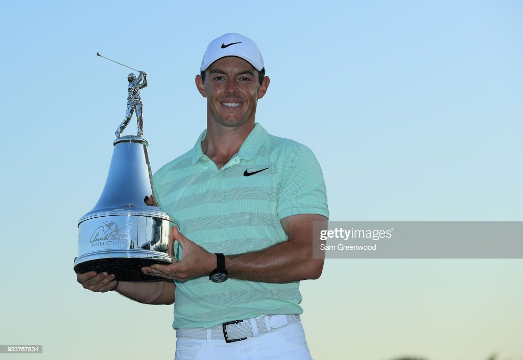 Rory McIlroy of Northern Ireland holds the trophy after his two shot victory during the final round at the Arnold Palmer Invitational Presented By MasterCard at Bay Hill Club and Lodge on March 18, 2018 in Orlando, Florida.