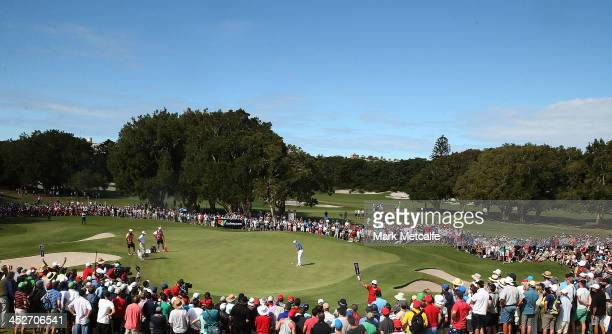 Rory McIlroy of Northern Ireland holes a putt on the 17th hole during day four of the 2013 Australian Open at Royal Sydney Golf Club on December 1...