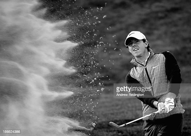 Rory McIlroy of Northern Ireland in action during practice for The Abu Dhabi HSBC Golf Championship at Abu Dhabi Golf Club on January 15, 2013 in Abu...