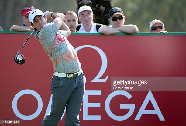 Rory McIlroy of Northern Ireland in action during the Champions Challenge prior to the Omega Dubai Desert Classic on the Majlis Course on January 28...