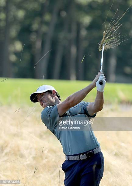 Rory McIlroy of Northern Ireland in action during the proam as a preview for The Barclays in the PGA Tour FedExCup PlayOffs on the Black Course at...