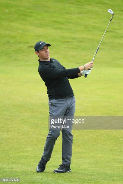 Rory Mcilroy of Northern Ireland in action during the ProAm of the Dubai Duty Free Irish Open at Portstewart Golf Club on July 5 2017 in Londonderry...