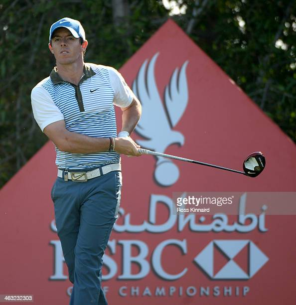 Rory McIlroy of Northern Ireland in action during the second round of the Abu Dhabi HSBC Golf Championship at the Abu Dhabi Golf Club on January 17...