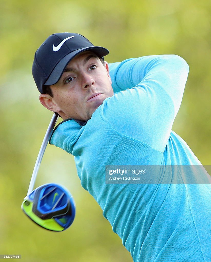 Rory McIlroy of Northern Ireland in action on the 18th hole during the first round of the Dubai Duty Free Irish Open Hosted by the Rory Foundation at The K Club on May 19, 2016 in Straffan, .