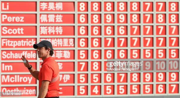 Rory McIlroy of Northern Ireland is pictured on the 18th green during Day Two of the WGC HSBC Champions at Sheshan International Golf Club on...