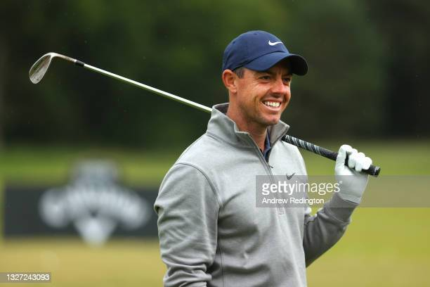 Rory McIlroy of Northern Ireland is pictured on the driving range during a practice day prior to the abrdn Scottish Open at The Renaissance Club on...