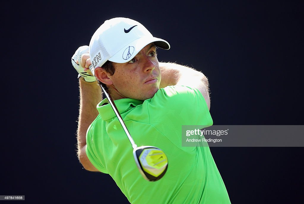 Rory McIlroy of Northern Ireland is pictured wearing his cap with a Pray For Paris logo as he hits his tee-shot on the third hole during the first round of the DP World Tour Championship on the Earth Course at Jumeirah Golf Estates on November 19, 2015 in Dubai, United Arab Emirates.