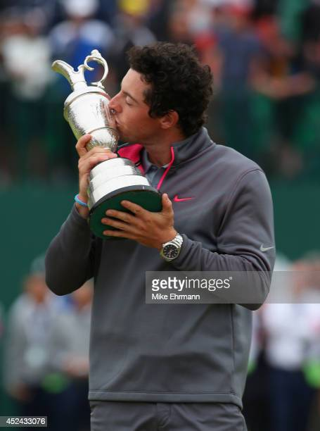 Rory McIlroy of Northern Ireland kisses the Claret Jug after his twostroke victory at The 143rd Open Championship at Royal Liverpool on July 20 2014...