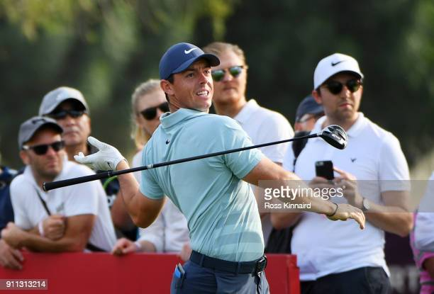 Rory McIlroy of Northern Ireland lets go of his driver as he tees off on the 16th hole during the final round on day four of the Omega Dubai Desert...