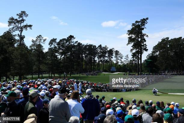 Rory McIlroy of Northern Ireland lines up a putt on the second hole during the final round of the 2018 Masters Tournament at Augusta National Golf...