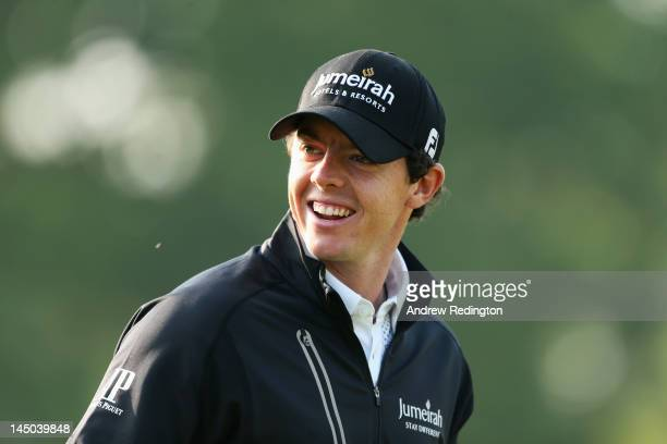 Rory McIlroy of Northern Ireland looks on during the Pro-Am round prior to the BMW PGA Championship on the West Course at the Wentworth Club on May...