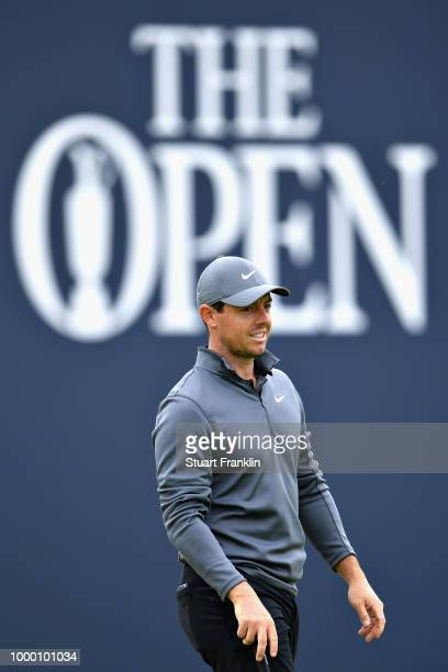 Rory McIlroy of Northern Ireland looks on on a practice round during previews ahead of the 147th Open Championship at Carnoustie Golf Club on July 16...