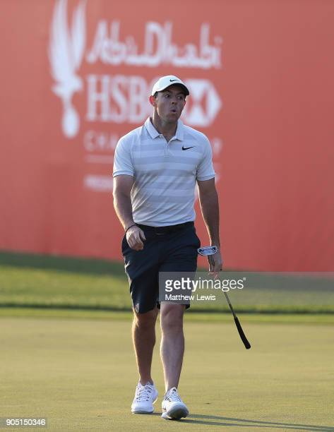 Rory McIlroy of Northern Ireland looks on on the 18th green during a practice round ahead of Abu Dhabi HSBC Golf Championship at Abu Dhabi Golf Club...