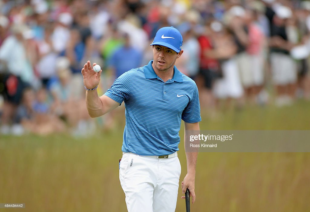 Rory McIlroy of Northern Ireland makes birdie on the 16th hole during the third round of the Deutsche Bank Championship at the TPC Boston on August 31, 2014 in Norton, Massachusetts.