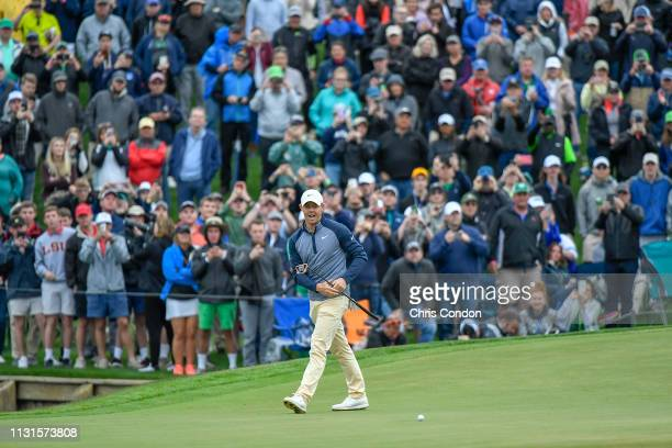 Rory McIlroy of Northern Ireland misses his birdie putt on the 18th green during the final round of THE PLAYERS Championship on THE PLAYERS Stadium...
