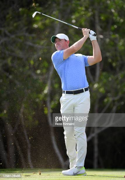 Rory McIlroy of Northern Ireland on the 12th tee during the final round of the Abu Dhabi HSBC Championship at Abu Dhabi Golf Club on January 24, 2021...