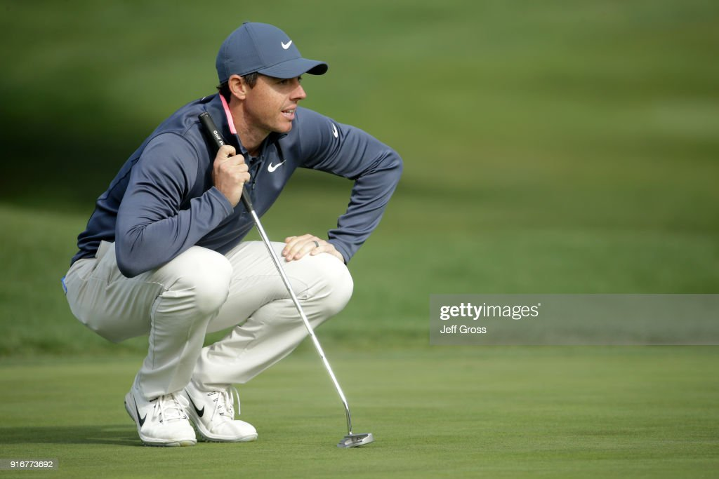 Rory McIlroy of Northern Ireland on the 16th green during Round Three of the AT&T Pebble Beach Pro-Am at Pebble Beach Golf Links on February 10, 2018 in Pebble Beach, California.