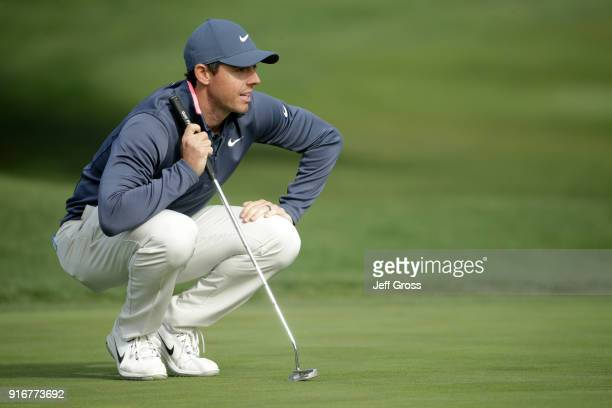 Rory McIlroy of Northern Ireland on the 16th green during Round Three of the ATT Pebble Beach ProAm at Pebble Beach Golf Links on February 10 2018 in...
