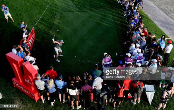 Rory McIlroy of Northern Ireland on the 17th tee during the proam event prior to the Omega Dubai Desert Classic at Emirates Golf Club on January 24...