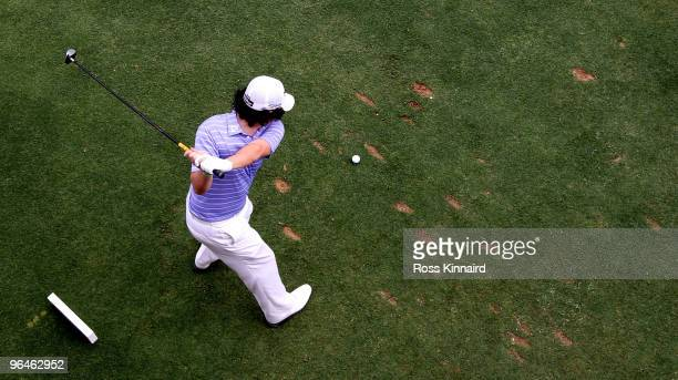 Rory McIlroy of Northern Ireland on the 17th tee during the third round of the Omega Dubai Desert Classic on the Majlis Course at the Emirates Golf...