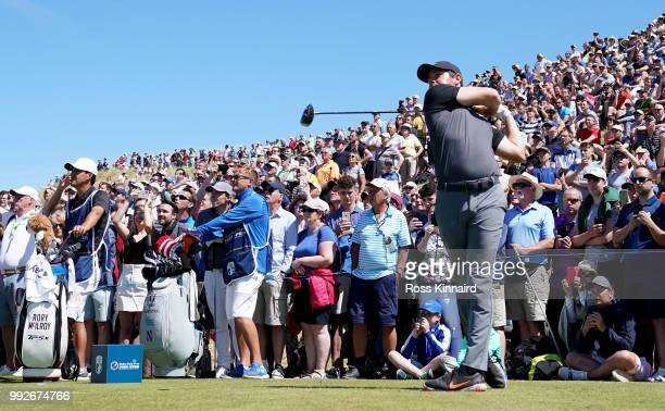 Rory McIlroy of Northern Ireland on the 8th tee during the second round of the Dubai Duty Free Irish Open at Ballyliffin Golf Club on July 6, 2018 in...