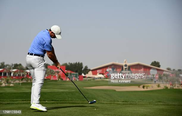 Rory McIlroy of Northern Ireland on the 9th tee during the final round of the Abu Dhabi HSBC Championship at Abu Dhabi Golf Club on January 24, 2021...