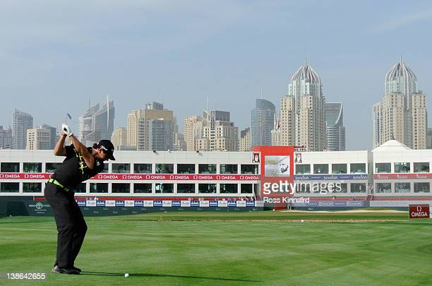 Rory McIlroy of Northern Ireland on the par five 18th hole during the second round of the Omega Dubai Desert Classic at the Emirates Golf Club on...