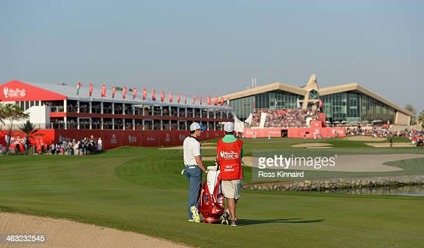 Rory McIlroy of Northern Ireland on the par five 18th hole during the second round of the Abu Dhabi HSBC Golf Championship at the Abu Dhabi Golf Club...