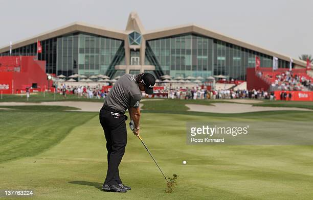Rory McIlroy of Northern Ireland on the par four 9th hole during the first round of Abu Dhabi HSBC Golf Championship at the Abu Dhabi HSBC Golf...