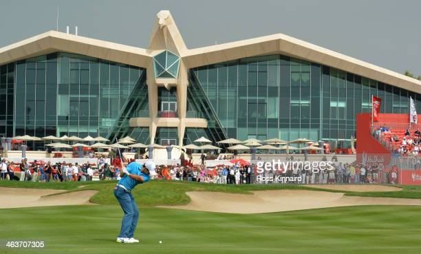 Rory McIlroy of Northern Ireland on the par four 9th hole during the final round of the Abu Dhabi HSBC Golf Championship at the Abu Dhabi Golf Club...