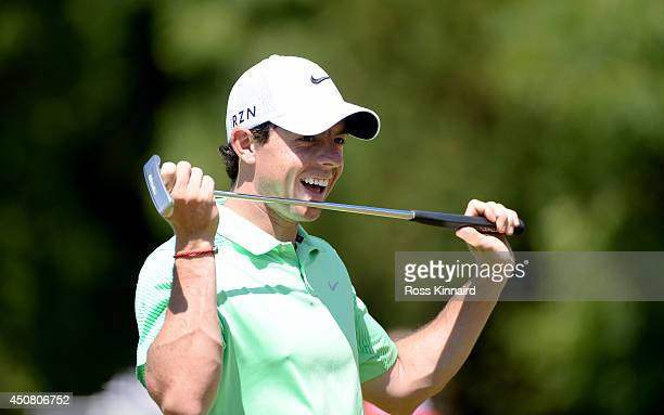 Rory McIlroy of Northern Ireland on the practice putting green during the proam event prior to the The Irish Open at the Fota Island Resort on June...